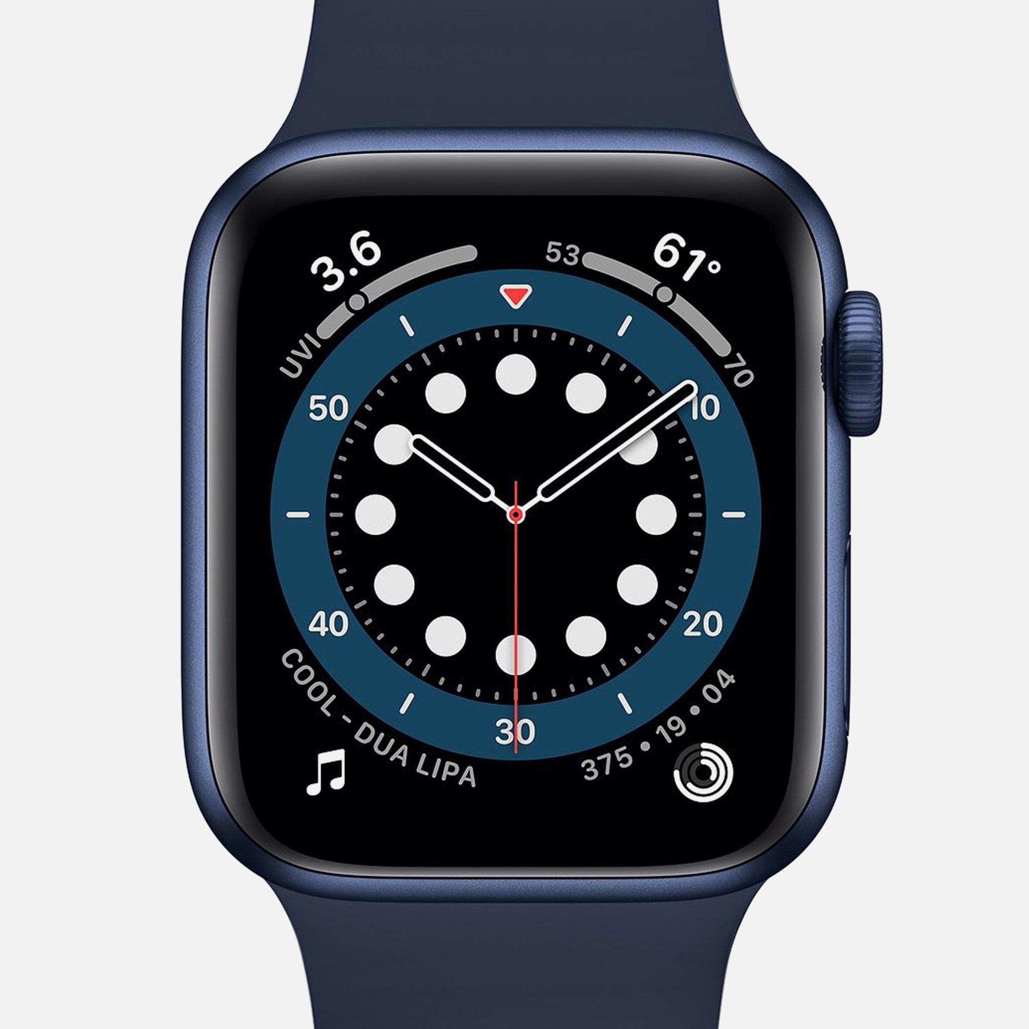 Đồng hồ Series 6 GPS + Vỏ nhôm màu xanh di động 40mm với dây đeo thể thao màu xanh đậm